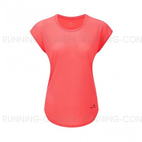 RONHILL Tee-Shirt manches courtes DELUXE MOMENTUM Femme | Hot Pink/Charcoal | Collection Printemps-Été 2019