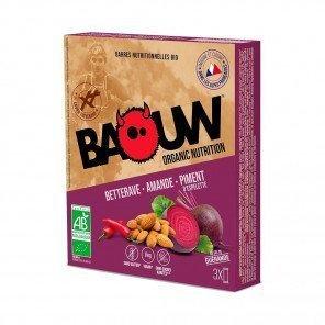 BAOUW Barres énergétiques bio   Betterave - Amande - Piment d'espelette   Pack de 3
